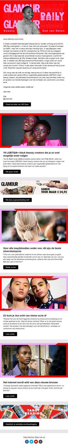 De Glamour nieuwsbrief, gemaakt met Basedriver, bestaat uit aantrekkelijke contentblokken, door de bijpassende kleuren en afbeeldingen. Software, Glamour, Marketing, The Shining