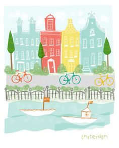 An original illustration inspired by the fun city of Amsterdam! It has the unique and colorful houses, the canals, the boats, the bikes, etc. to create a fun and quirky illustration of your favorite city!  via Esty