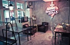 The Breakfast Club's lovely interiors- especially the metal mesh and eclectic furniture
