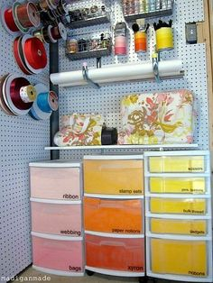 Great peg board organizer etc.  add coordinating paper to clear drawers in bike room