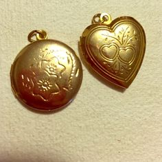 ✨Gold Lockets✨ 2 golden colored locket charms  **All items hand washed and dried before shipping. Smoke free home.** Jewelry Necklaces