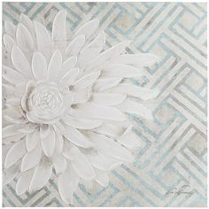 Art is in bloom at Pier 1 Imports. This lustrous white blossom set against teal latticework brings focus to the season with a subtle softness. Bright and beautiful, this hand-painted work of art is a daringly simple take on the traditional floral still life.