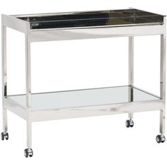 Roland Mirrored Bar Cart With Casters $699.00