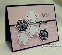 Stampin' Up! ... hand crafted greeting card ... baby pink with black and white ... random arrangement of hexagons with flowers ... stamped or punched ... great card!