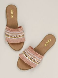 To find out about the Decorated Sequin Fringe Band Flat Slide Sandals at SHEIN, part of our latest Slippers ready to shop online today! Trendy Sandals, Boho Sandals, Cute Sandals, Fashion Sandals, Cute Shoes, Slide Sandals, Women's Shoes Sandals, Me Too Shoes, Boho Heels