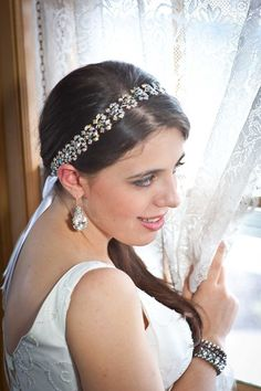 Collette  Crystal AB Jeweled Ribbon Headband by ClayBouquetShop