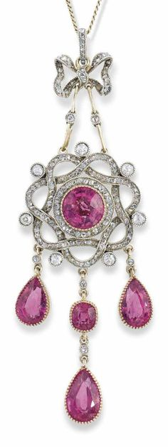 FABERGÉ - A BELLE EPOQUE SILVER-TOPPED GOLD-MOUNTED PINK TOURMALINE AND DIAMOND PENDANT MARKED FABERGÉ, MOSCOW, 1899-1908.