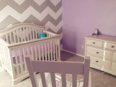Our nursery so far- lilac gray and white with a chevron wall! - Imgur