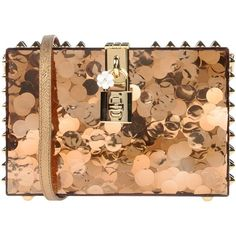 Dolce & Gabbana Handbag (€2.050) ❤ liked on Polyvore featuring bags, handbags, gold, studded bag, hand bags, mini purse, miniature purse and man bag