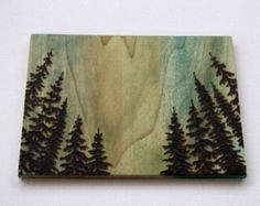 Landscape Art  - Wood burning - Trees at Dawn