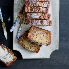 Smashed Banana Bread - This best-ever banana bread has intense banana flavor and lots of crunchy toasted pecans. Get the recipe at Food & Wine. Banana Walnut Bread, Healthy Banana Bread, Banana Bread Recipes, Wine Recipes, Baking Recipes, Muffin Recipes, Just Desserts, Dessert Recipes, Dessert Ideas