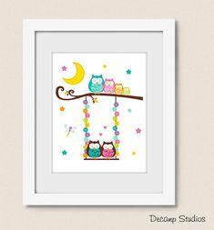 PRINTABLE NURSERY OWL Swing Wall Art Moon Stars Digital Download Baby Girl Room Decor - Tree Branch Lightning Bug Owl Nursery Decor, Baby Girl Room Decor, Girl Nursery, Art Store, Handmade Home Decor, Stars And Moon, Tree Branches, Printable Wall Art, Lightning