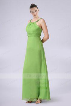 Elegant Scoop Floor-length Bridesmaid Dress with Pleats