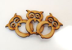 3 Wood Owl Cut-Outs~Wise Old Owl~Laser Cut Wood Owl Pendant~Woodworking, Art & Craft Supply~by JewelsandMetals. by JewelsandMetals on Etsy