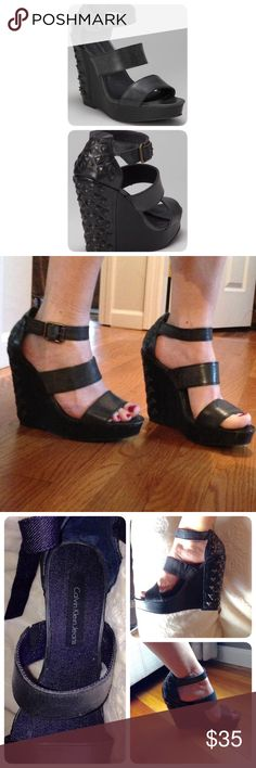 Calvin Klein black Platform Wedge Elegant in front and edgy in the back, these studded leather wedges have an adjustable buckle, flexible straps with a soft denim lining, and very comfortable.  They are brand new. ❗️MAKE AN OFFER❗️BUNDEL UP❗️                                                  ▪️5'' Heel with 1.25'' platform.                     ▪️Buckle closure Calvin Klein Jeans Shoes Platforms