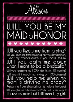 too cute, maid of honor..