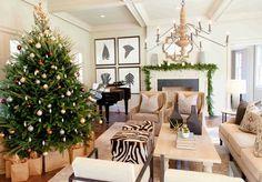 Pretty neutral family room dressed for Christmas...  Atlanta Holiday Home