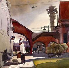 James Hollins Patrick - Red Cap Gossip, L.A., c. 1939, an original California oil painting for sale, original California art for sale - CaliforniaWatercolor.com