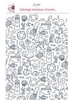 Voilà un coloriage pour les plus grands, qui demande un peu plus de minutie. Donnez de la couleur à ces motifs marins, sans dépasser évidemment !