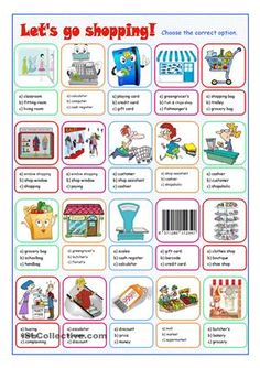 Multiple choice exercise on shopping to practise the vocabulary.  - ESL…