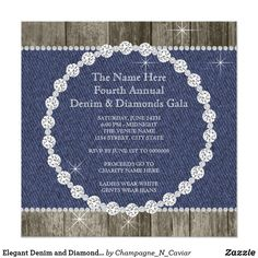Elegant Denim and Diamonds Party Card Wedding Party Invites, Country Wedding Invitations, Beautiful Wedding Invitations, Elegant Invitations, Zazzle Invitations, Birthday Party Invitations, Birthday Parties, 50th Birthday, Birthday Ideas