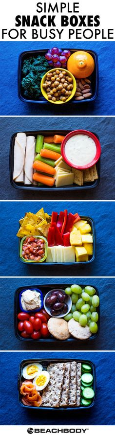 These grab-and-go snack boxes are easy to put together and each one is loaded with protein and fiber to satisfy that mid-afternoon rumble in your tummy. // snacks // meal prep // back to school // quick and simple // snack ideas // healthy food // eat cle Healthy Foods To Eat, Healthy Snacks, Healthy Eating, Healthy Recipes, Yummy Recipes, Diet Snacks, Vegan Foods, Paleo Diet, Healthy Detox