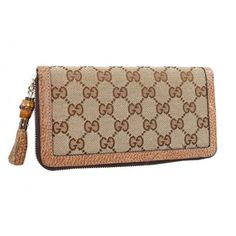 d3a08236173 Gucci Zip Wallet with Tassel and Bamboo Detail Light Brown Sale Gucci Wallet
