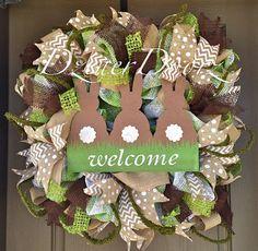 Spring Bunny Welcome deco mesh Wreath by DzinerDoorz on Etsy, $165.00