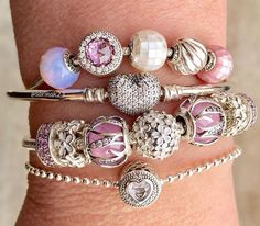 We love this combination of PANDORA Essence and classic PANDORA bracelets! #PANDORATexas #PANDORAbracelets