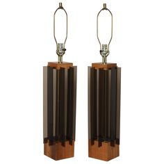Pair of 1960's Architectual Smoked Lucite and Walnut Lamps