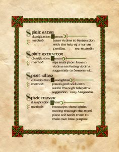 "Book of Shadows:  ""Spirit Classification,"" by Charmed-BOS, at deviantART."