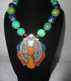 Flawless Silver Antiqued 213 Carats Corals And Tibetan Turquoise Necklace**** by RamsesTreasure on Etsy