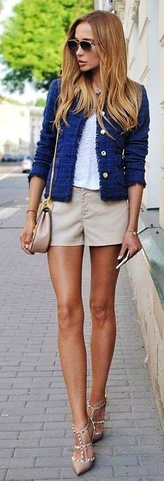 #spring #summer #fashion #outfitideas Tweed jacket   Light Neutrals