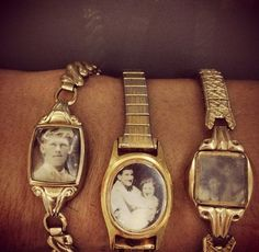 Brilliant use of old watches! I have several that no longer work and I can't think of a better way to enjoy my family history than tucking tiny copies of favorite old photos behind the glass. I plan on using a photo of the Grandmother I inherited the watch from!
