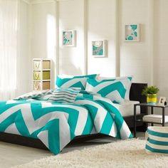 Chevron-Comforter-Set-3-Pc-Bedding-Twin-Reversible-Teal-Blue-White-Stripe-Modern