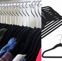 A lack of storage is easily solved with these non slip slim line hangers. Highly recommend throwing out your bulky wooden hangers & switching. They save so much space hanging twice the amount o… Wooden Hangers, Clothes Hanger, Bedrooms, Storage, Coat Hanger, Purse Storage, Clothes Hangers, Bedroom, Larger