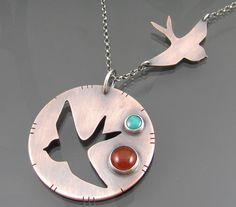 double swallow necklace turquoise necklace by NRjewellerydesign