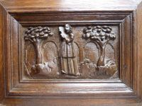 Early 17th Century Antique Oak Carved Panel Depicting a Figure with Violin