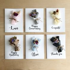 Your place to buy and sell all things handmade Birthday Dried Flower Cards Mini bouquet Calligraphy Diy Flowers, Paper Flowers, Drawing Flowers, Bouquet Flowers, Painting Flowers, Vintage Flowers, Tulip Bouquet, Fleurs Diy, Karten Diy