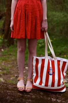 Beach Bag Large Red Stripe with Anchor, Nautical Beach Bag, nautical tote bag