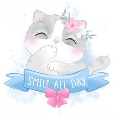 Cute little kitty with floral portrait Disney Stitch, Arte Do Kawaii, Kawaii Art, Cute Animal Drawings, Cute Drawings, Cute Images, Pretty Pictures, Kids Room Art, Art For Kids