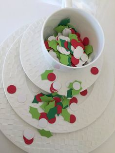 Items similar to Christmas Table Confetti 500 Pieces Holly Leaves and Berries Table Confetti Leaves and Berries Confetti Table Confetti Holiday Confetti on Etsy