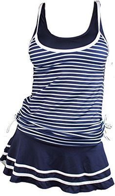 Women's Athletic One-Piece Swimsuits - MiYang Womens Tankini Striped Vintage Swim Dress ** Find out more about the great product at the image link.