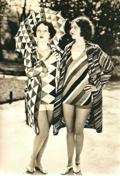 Two models in Sonia Delaunay beachwear. 1927.