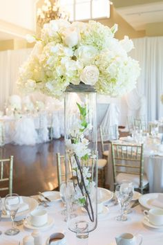 Gorgeous tall white centerpiece