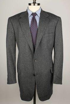 Brooks Brothers Grey Weave 100% Lambswool 44 L mens Sport Coat