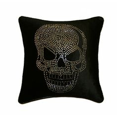 @Overstock - Give a fashion forward twist to your sofa, chair or bed with Jar Designs embellished pillows. With appliqued intricate silver studs on a black velvet and faux leather welt, this pillow will add an edge and style to your decor.   http://www.overstock.com/Home-Garden/JAR-Designs-Large-Skull-Black-Throw-Pillow/7511997/product.html?CID=214117 CAD              148.12