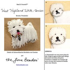 PDF Tutorial de bordado con cuentas del prendedor o pendiente de perro WESTIE - West Highland White Terrier by thelonebeader #etsy #espanol