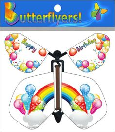 Rainbow Birthday wind up flying Butterflyer now available online!