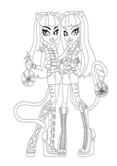 Purrsephone And Meowlody Monster High Coloring Page